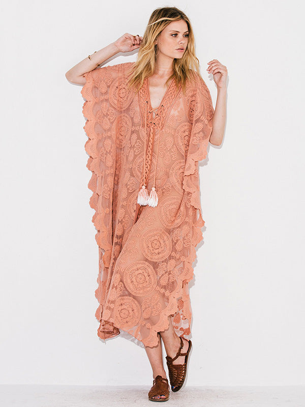 Pink Lacy Split-joint Beach Cover-up Maxi Dress