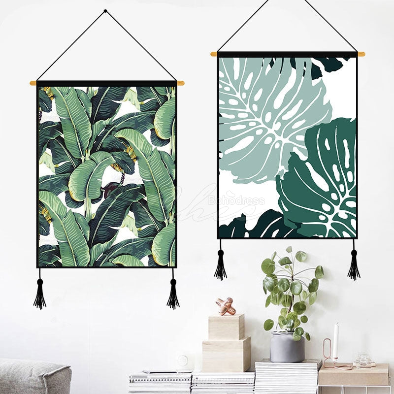 Light Green Monstera Printed Wall Hanging Decoration