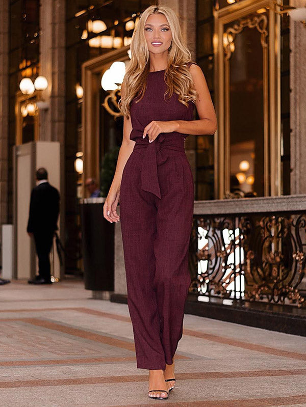 Solid Color Sleeveless Belted Jumpsuits