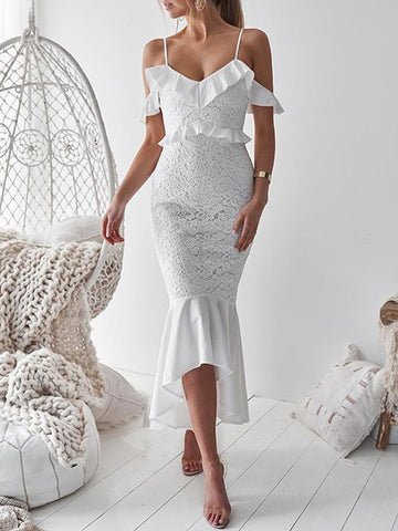 Lacy Bow-embellished Spaghetti-neck Evening Dress