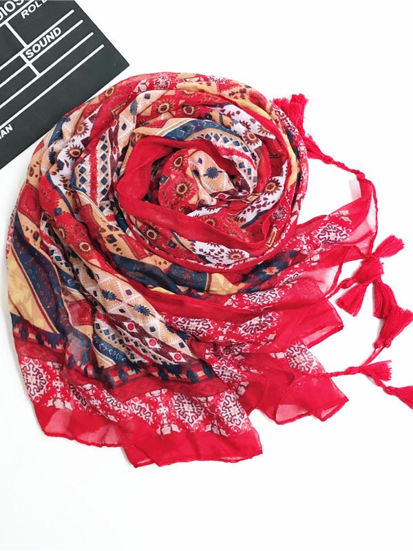National Flower Printed Shawl Scarf