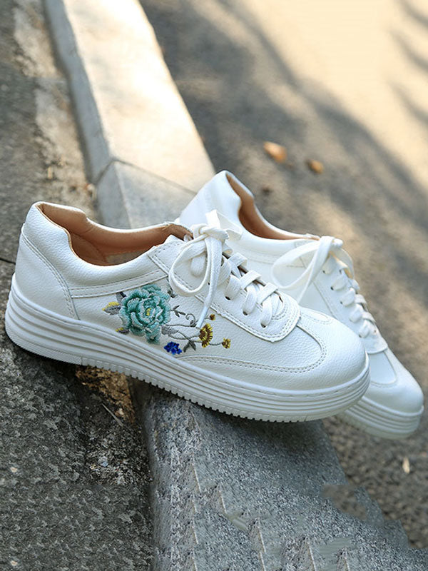 Embroidered Floral Sneaker Shoes