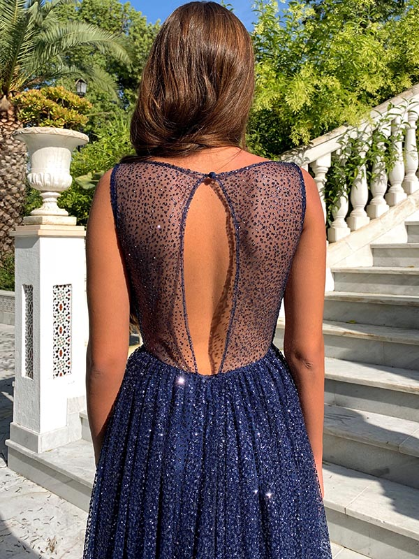 See-through Backless Starry Sky Evening Dress