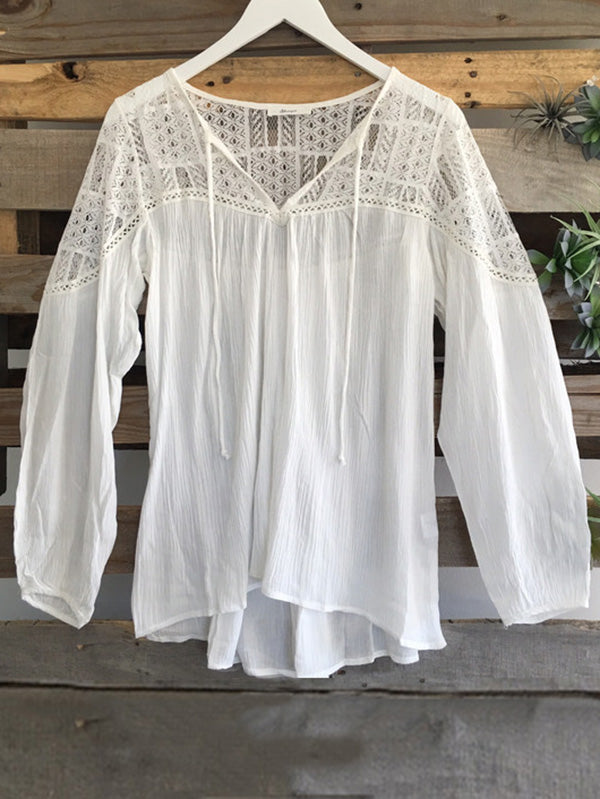 V-neck Long Sleeves Tassel Blouse Shirt Tops