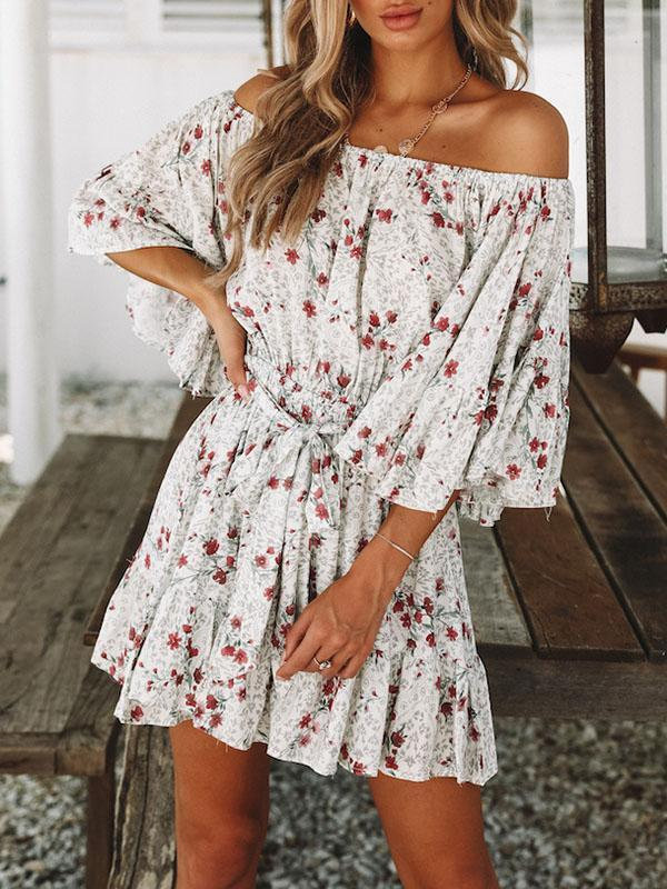 Bohemia Printed Flared Sleeves Off-the-shoulder Mini Dresses