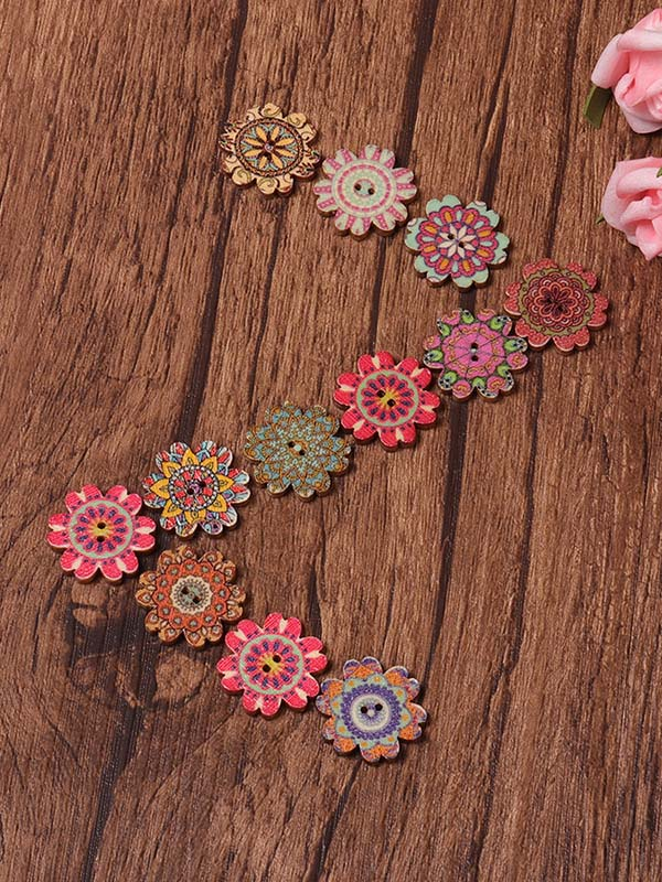 About 100Pcs Multi-Color Floral Pattern Buttons