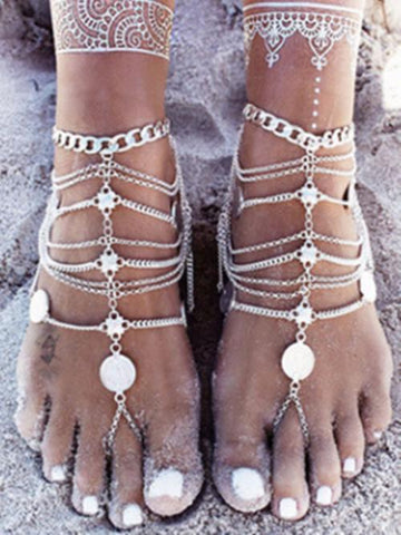 Bohemia Retro Tassels Coins Leg Chains Accessories