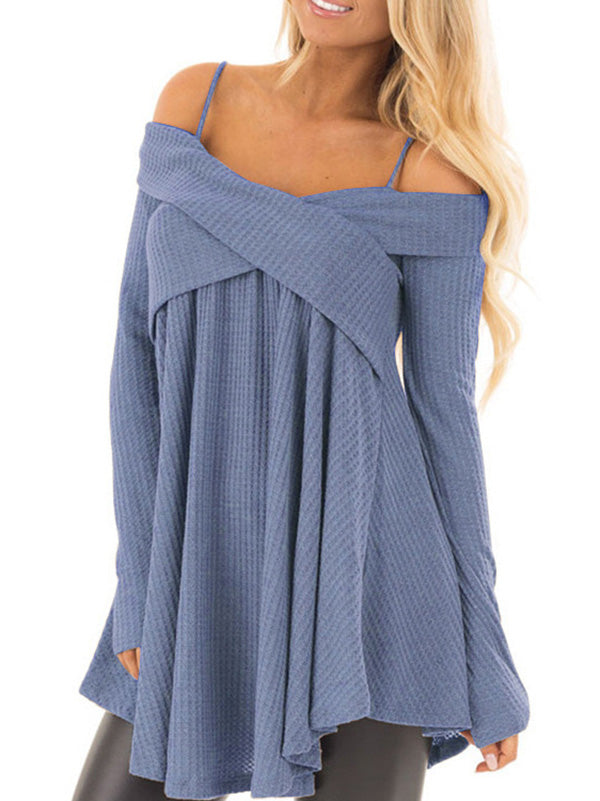 7 Colors Off-the-shoulder Blouses&Shirts Tops
