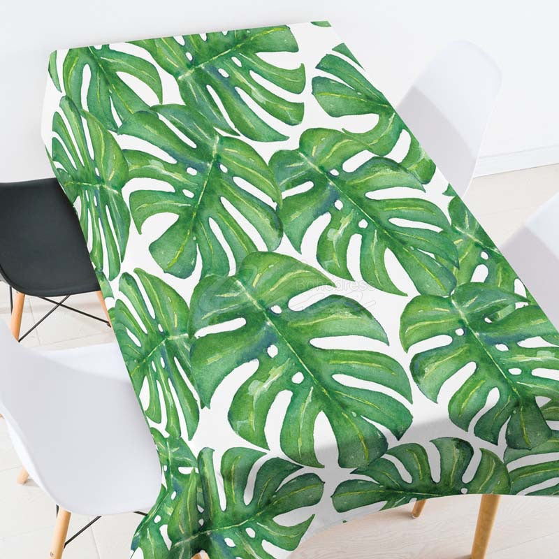 Leaves Green Plants Casual Printed Tablecloth