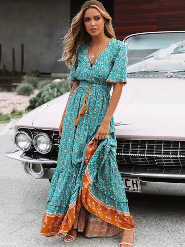 Printed V-neck Maxi Dresses
