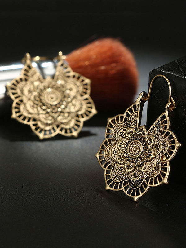 Vintage Hollow Alloy Flower Earring Accessories