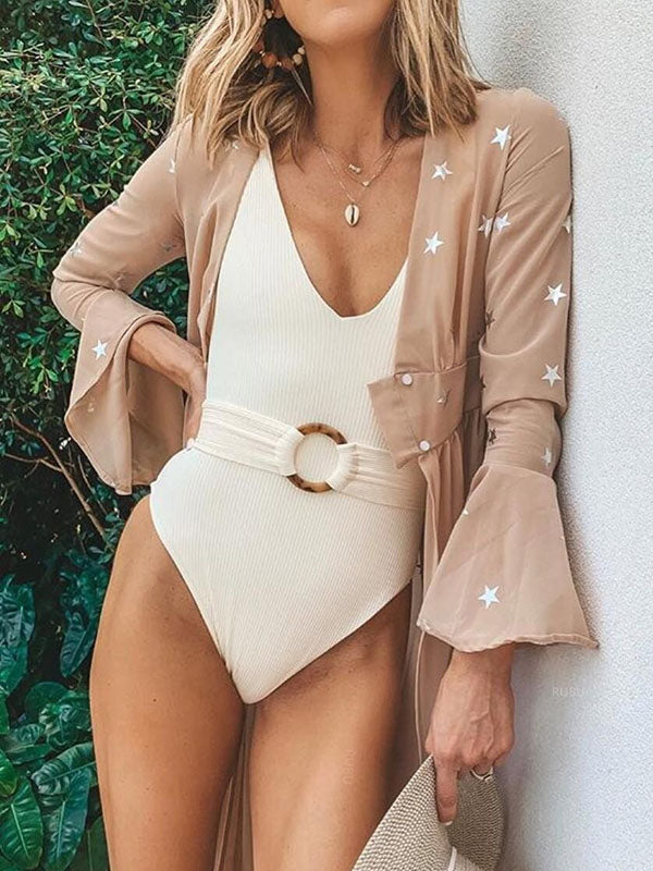 Plain Belted One-piece Swimsuit