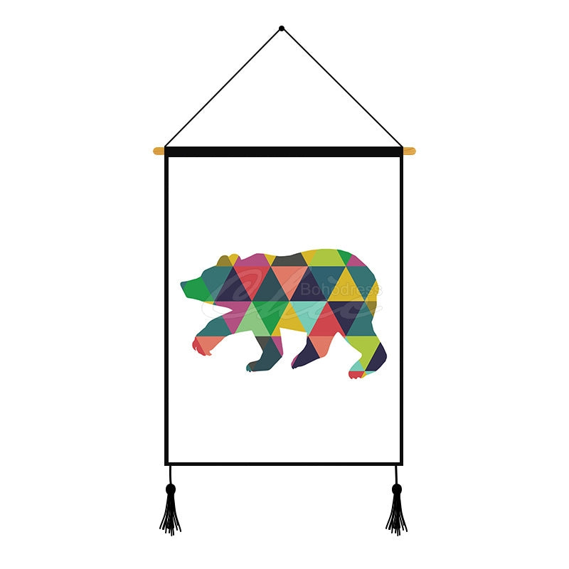 Polar Bear Gradient Deer Geometric Printed Wall Hanging Decoration