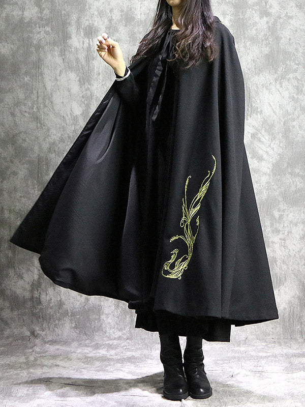 Loose National Phoenix Embroidered With-hat Cape Outwear