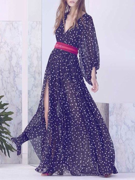 Belt Polka-dot V-neck Split-side Maxi Dress