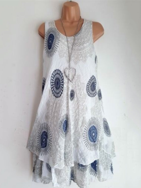 Printed Double Layers Sleeveless Dress
