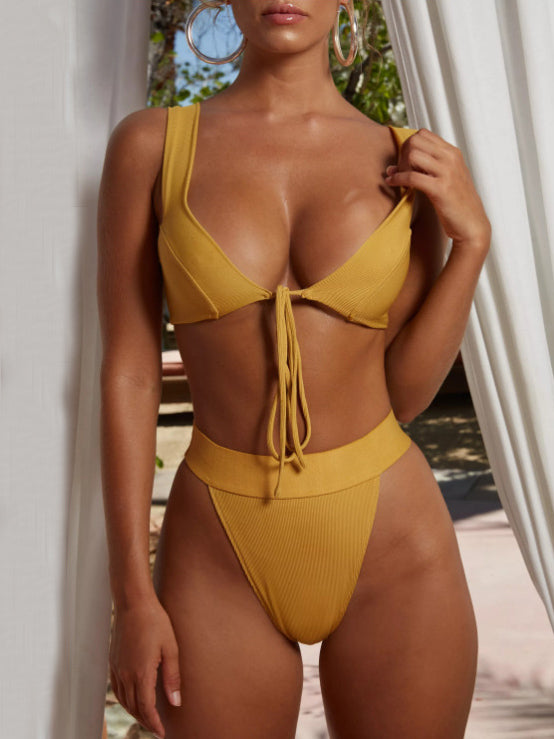 Plain Triangle Sexy Bikinis Swimwear