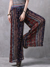 Rhombus Printed Bell-bottoms Casual Pants