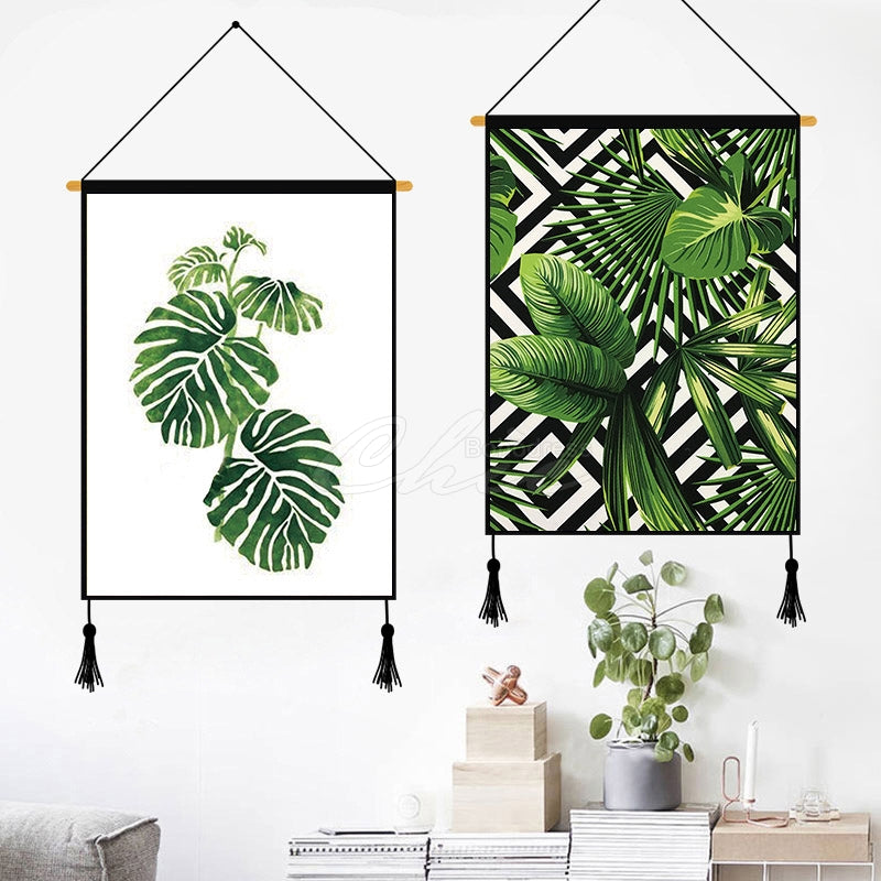 Creative Green Plants Printed Wall Hanging Decoration