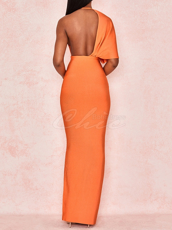 Cropped One-shoulder Backless Maxi Dress
