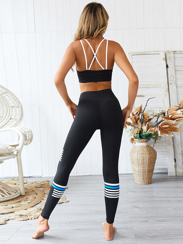Spaghetti-neck Striped Printed Tank Sports Yoga Suit