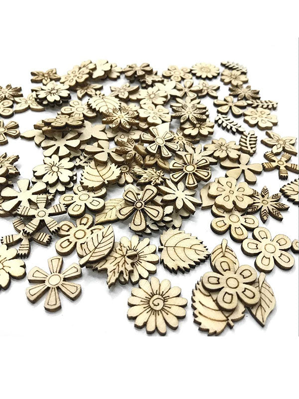 Flower&Leaves Pattern Burlywood Buttons