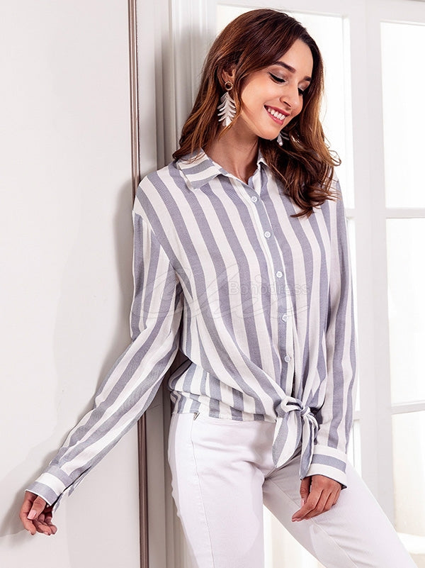Striped Bow Cardigan Blouse