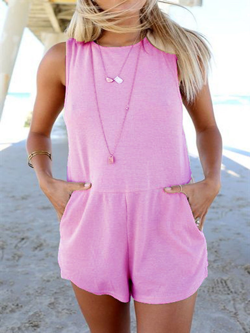 Solid Round Neck Vesgt Top Casual Rompers Bottoms