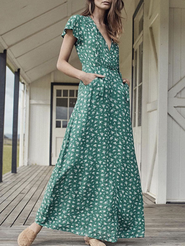 Printed Bow-embellished V-neck Maxi Dress