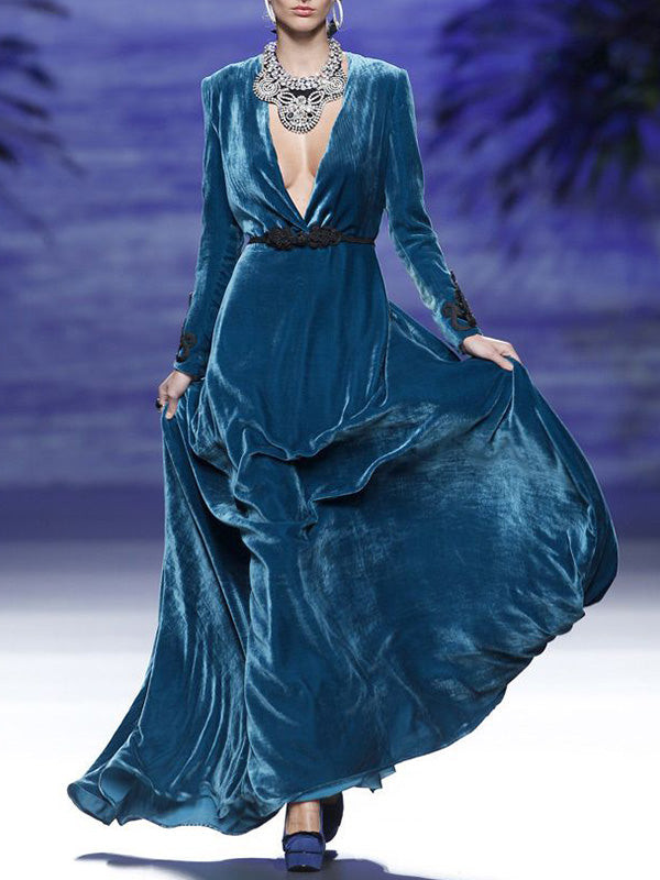 Deep V-neck Long Sleeved Evening Dress