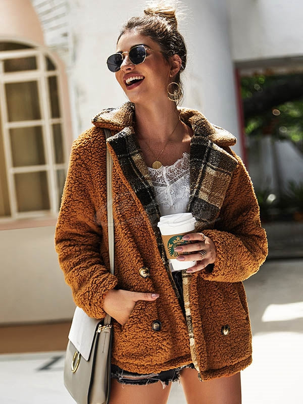 Velvet Colorblock Plaid Jacket Coat