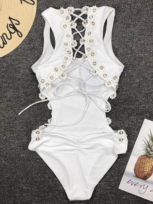 Flower Rivet Lattice One-piece Swimsuit