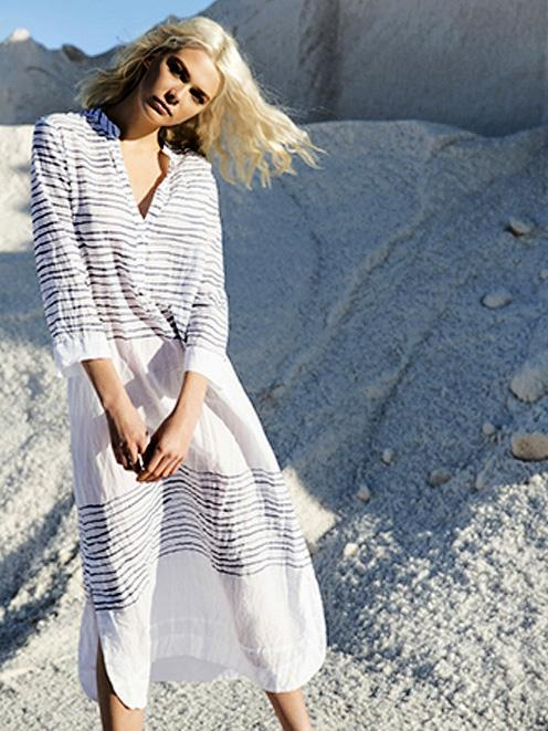 Royan Striped Printed Cover-up Swimwear