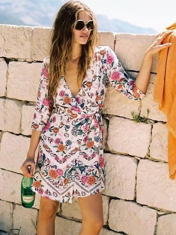 Bohemia Floral High Waist Beach Mini Dress