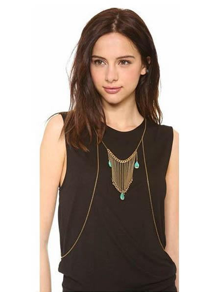 Sexy Bohemia Turquoise Tassels Body Chain Accessories