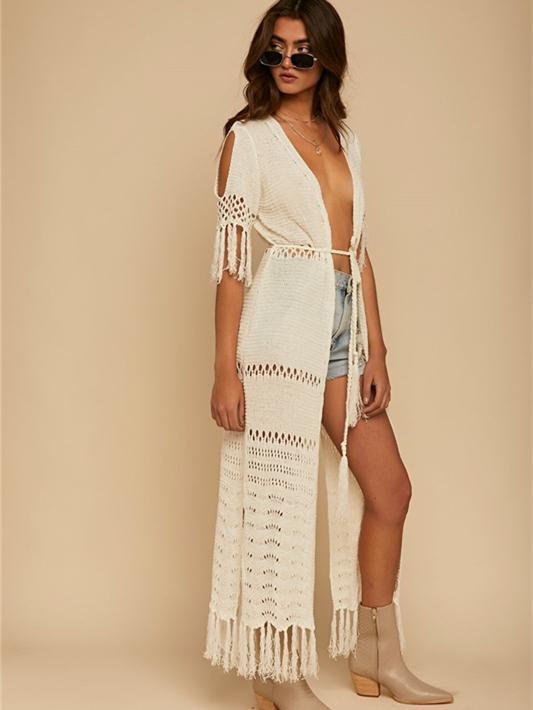 Knitting Hollow Split Tassels Cover-Ups