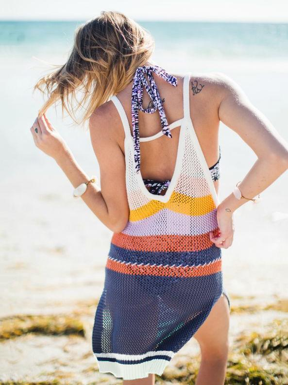 Color Split-joint Knitting Backless Cover-ups