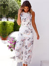 Bohemia V-back Sleeveless Floral Printed Jumpsuits