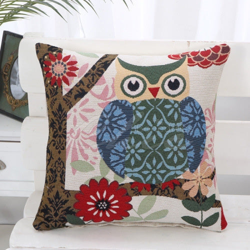 Owl Printed Square Pillow Case