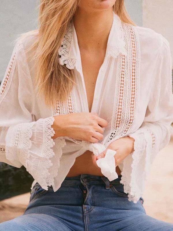 Fashion Hollow Long Sleeves Lace Blouse Shirt Tops