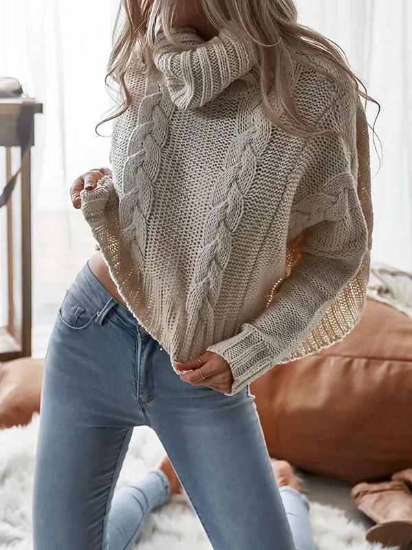 White Heaps Collar Long Sleeves Sweater Tops