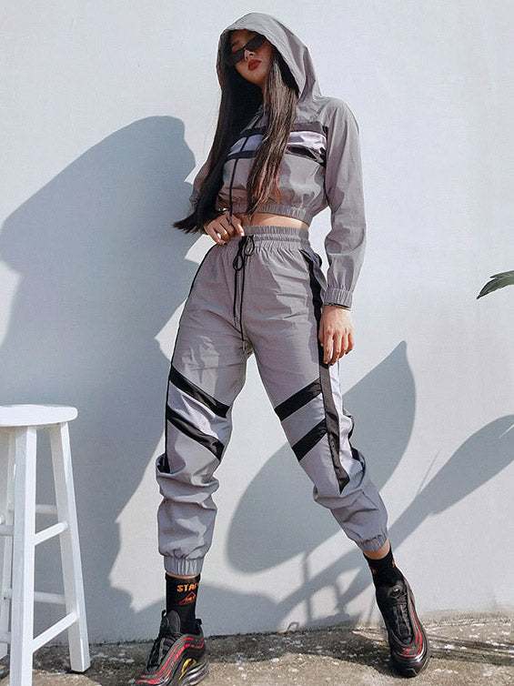 Hooded Crap Jacket And Track Pants Suits