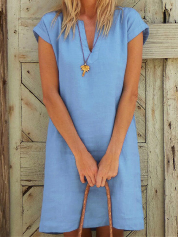 Split-joint V-neck Short Sleeve Midi Dress