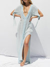 Sexy White with Tassels Big Round Neck Beach Dress Mini Dress