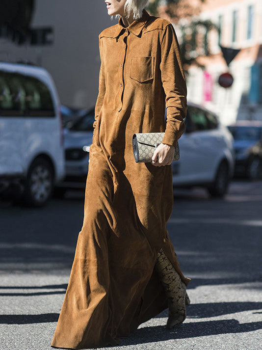 Lapel Collar Long Sleeves Maxi Shirtdress