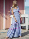 Bohemia Pompoms Knotted Bowknot Split-front Maxi Dress