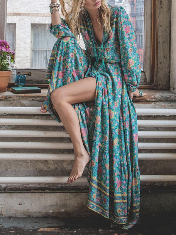 Floral Split-front Puff Sleeves Bohemia Maxi Dress