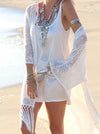 White Cotton Blend Tasselled Mini Cover-Up