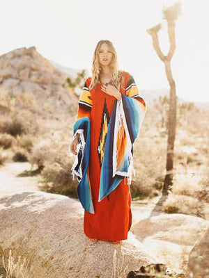 Gradient Flared Sleeves Tasseled Maxi Dress