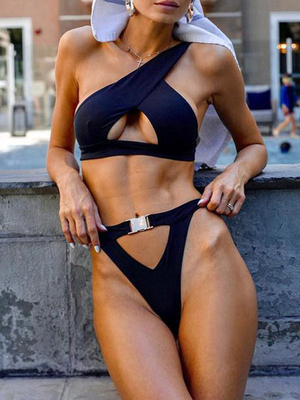 One Shoulder Top Plain Bikini Set